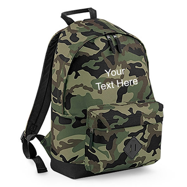 Personalised Camouflage Backpack Bag
