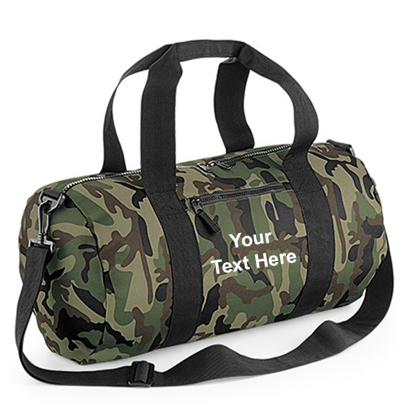 Personalised Camouflage Barrel Holdall Bag