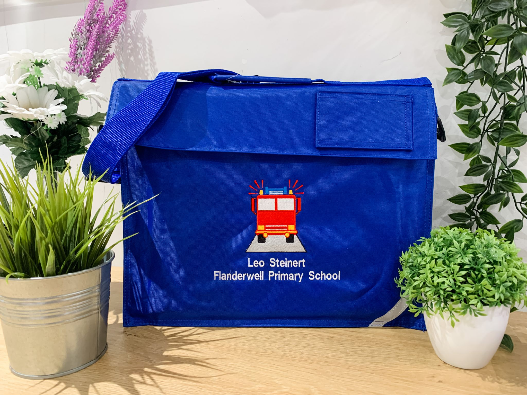 Personalised FIRE ENGINE School Book Bag