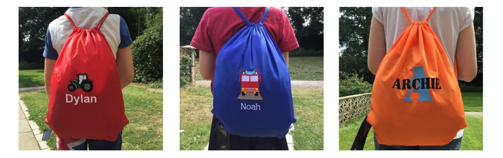 NAMED PE BAGS GYMSAC DRAWSTRING BAGS  Personalised bag with your childs name and a logo on, so they can easily identify at school.  We have gorgeous personalised bags for every occasion!