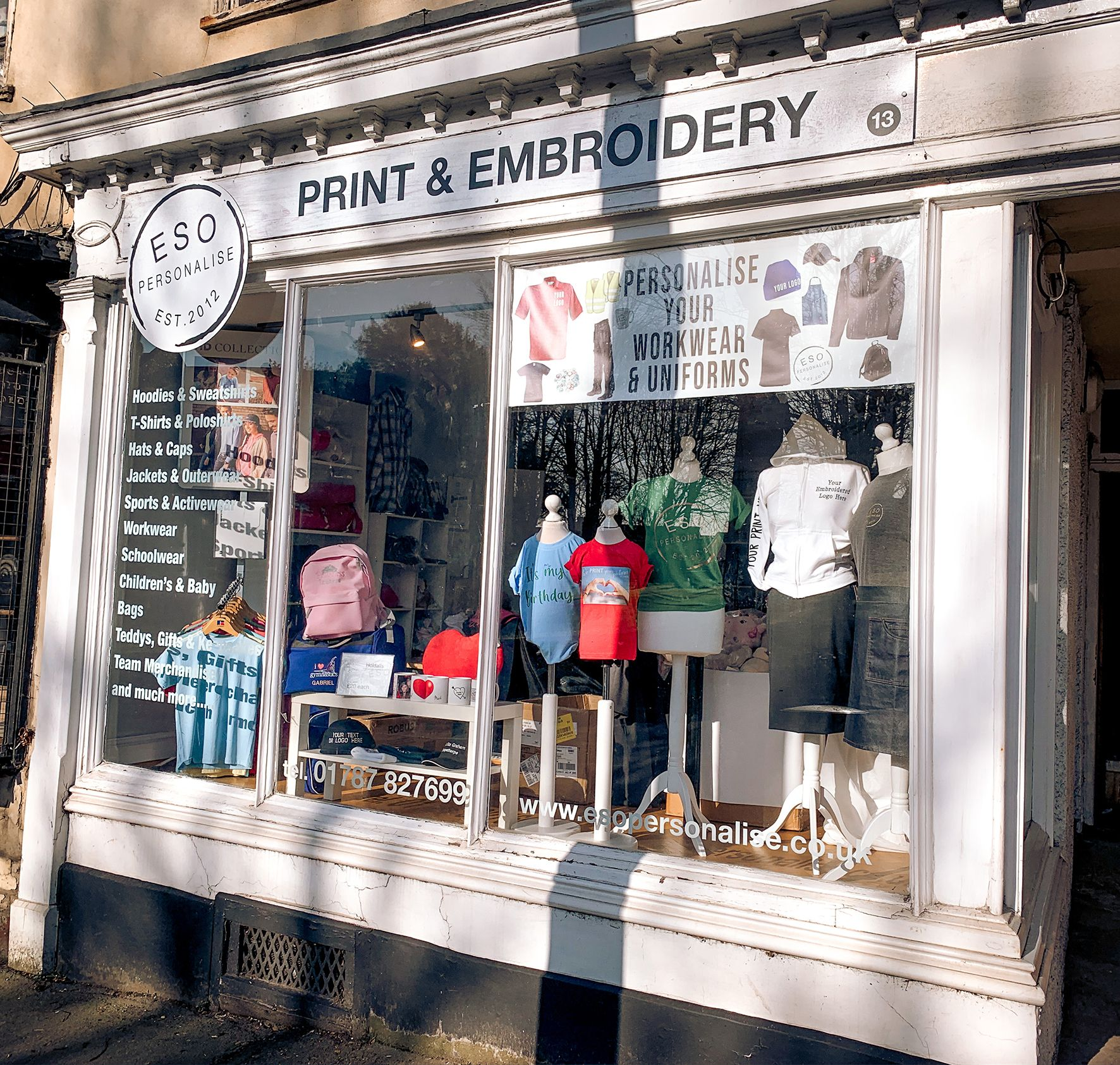 Embroidery shop, print and embroidery shop, embroidery shop window, print & embroidery shop window